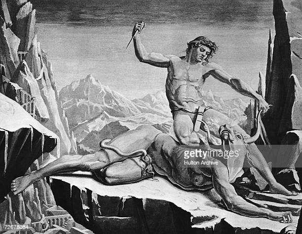 Theseus an Athenian hero of Greek mythology slays the Minotaur in the labyrinth on Crete circa 1300 BC From 'Theseus and the Minotaur' by T Erat...