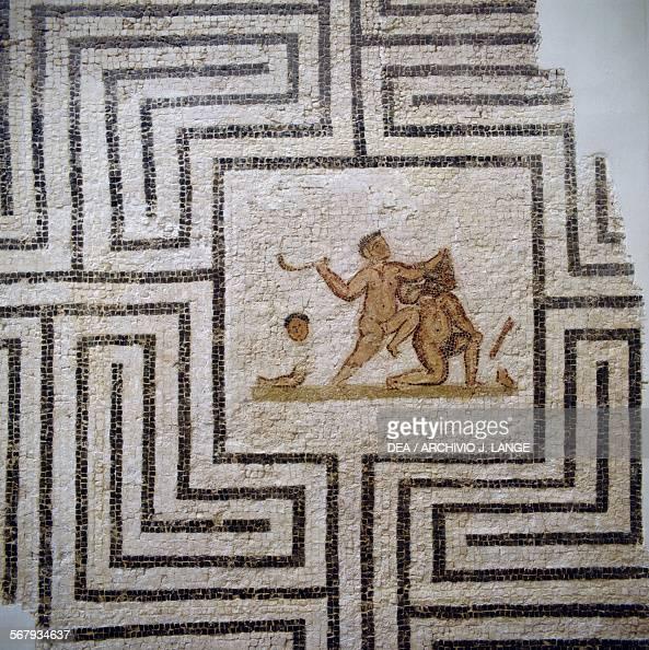 Theseus slaying the Minotaur in the labyrinth mosaic from Thuburbo Majus Tunisia Roman civilisation 3rd century AD Detail Tunis Musée National Du...