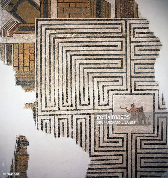 Theseus slaying the Minotaur in the labyrinth mosaic from Thuburbo Majus Tunisia Roman civilisation 3rd century AD Tunis Musée National Du Bardo