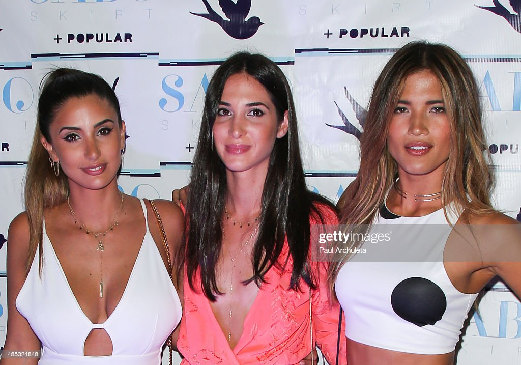 Thessy Kouzoukas Yiota Kouzoukas and Rocky Barnes attend Sabo Skirt's 2015 PreVMA Party at SkyBar at the Mondrian Los Angeles on August 26 2015 in...