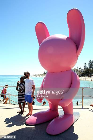 '#thestormiemillsproject' by artist Stormie Mills is seen at Sculpture By The Sea at Cottesloe Beach on March 6 2015 in Perth Australia