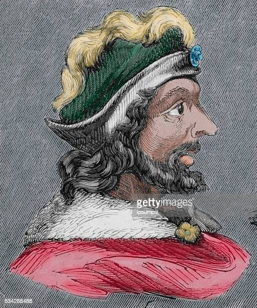 Theudis King of the Visigoths in Hispania from 531548 Portrait Engraving Colored