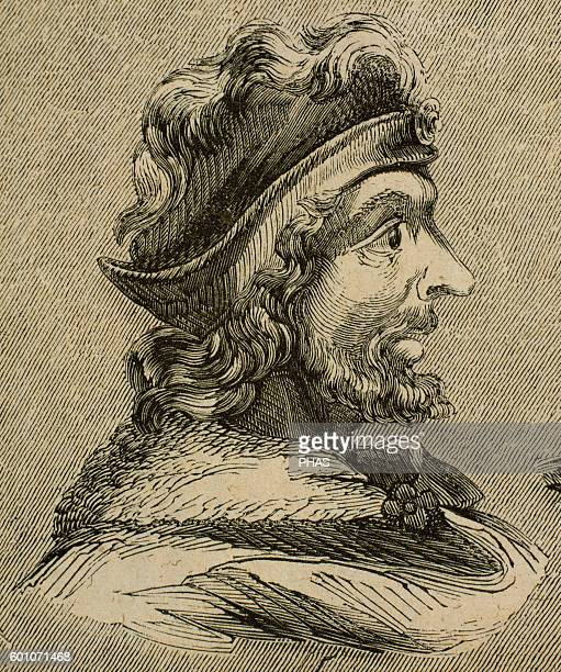 Theudis King of the Visigoths in Hispania from 531548 Portrait Engraving
