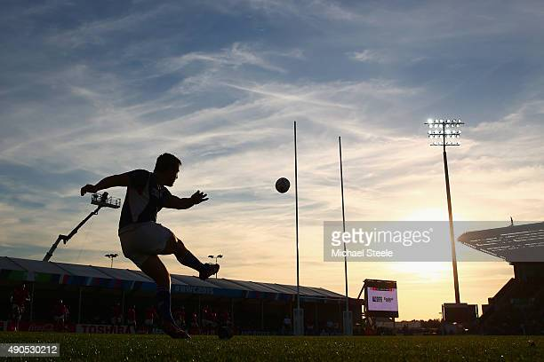 Theuns Kotze of Namibia converts a try for Namibia during the 2015 Rugby World Cup Pool C match between Tonga and Namibia at Sandy Park on September...