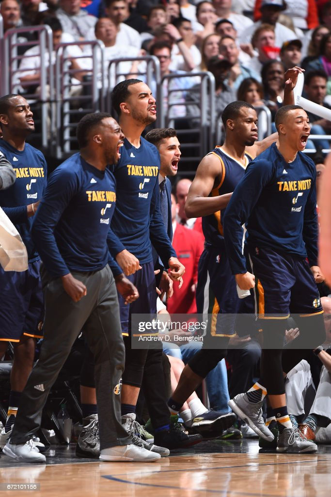 TheUtah Jazz react during the game against the LA Clippers in Game One of Round One during the 2017 NBA Playoffs on April 15, 2017 at STAPLES Center in Los Angeles, California.