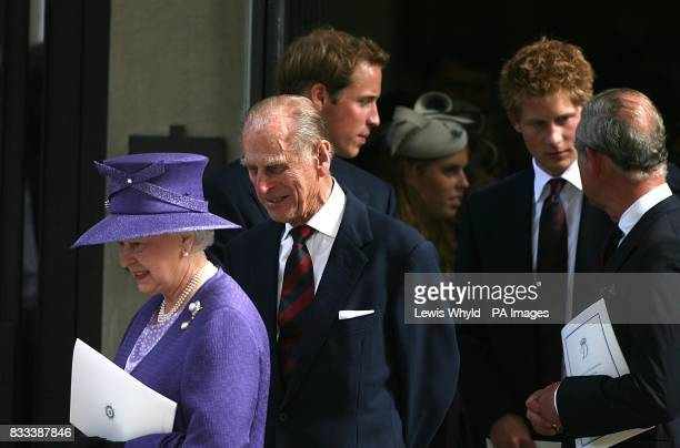 Thew Queen The Duke of Edinburgh Prince William Prince Harry and Prince Charles leave the Service of Thanksgiving for the life of Diana Princess of...