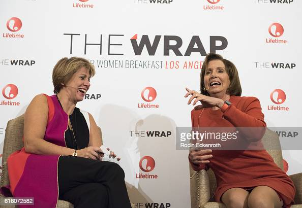 TheWrap's CEO and EditorinChief Sharon Waxman and Democaratic Leader of the US House of Representatives 114th Congress Nancy Pelosi speak onstage at...