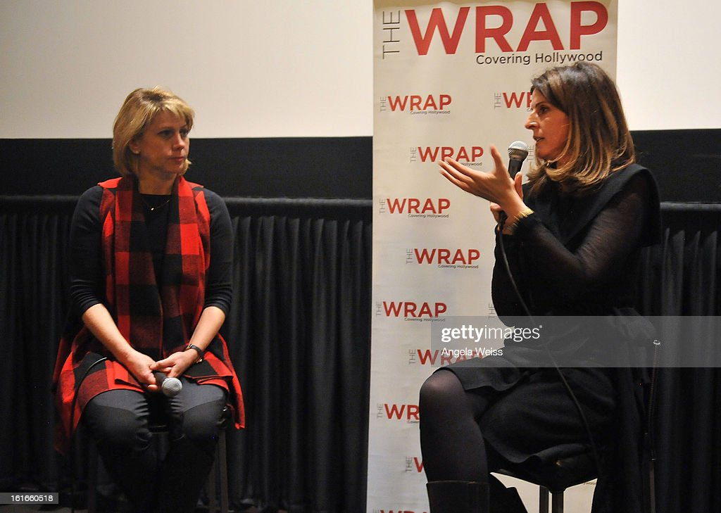 TheWrap's <a gi-track='captionPersonalityLinkClicked' href=/galleries/search?phrase=Sharon+Waxman&family=editorial&specificpeople=233500 ng-click='$event.stopPropagation()'>Sharon Waxman</a> and producer Amy Ziering participate in a Q&A session following TheWrap's screening of 'The Invisible War' at Sunset Sundance Cinemas on February 13, 2013 in Los Angeles, California.