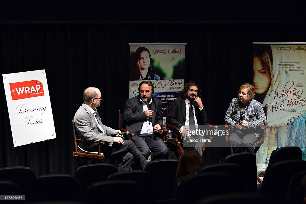 TheWrap's Steve Pond, director Ismail Gunes and producer Baran Seyhan participate in a Q&A session following TheWrap's Awards Season Screening Series of Atesin Dustugu Yer 'Where The Fire Burns' on December 6, 2012 in Los Angeles, California.
