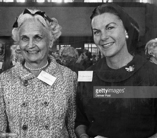 They Helped at Botanic Gardens Reception Mrs Edward Honnen left and Mrs Brown Cannon were hostesses at recent opening of Boettcher Conservatory...