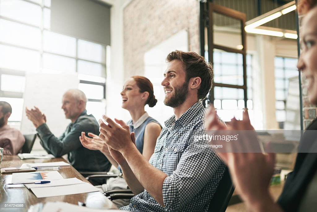 They learnt a lot from this meeting : Stock Photo