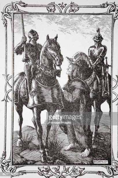 They met with an Old Man' 1905 Sir Balan and Sir Balin meet with Merlin disguised as an old man An illustration from Stories of King Arthur and the...