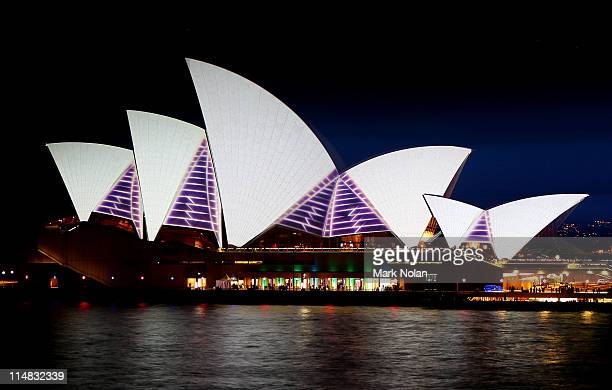 They Sydney Opera House sails are illuminated on opening night of the 2011 Vivid Sydney Festival on May 27 2011 in Sydney Australia The annual...