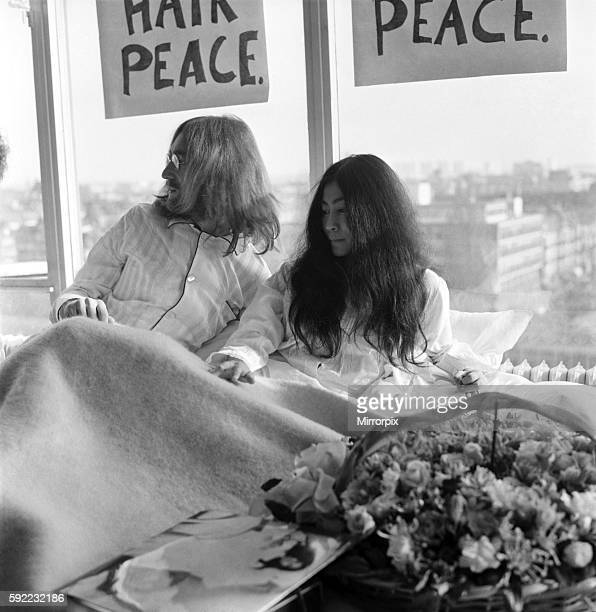 They will stay in bed for seven days with fruit flowers and peace signs March 1969 Z02902007