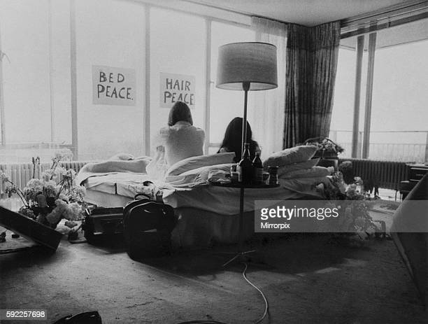 They will stay in bed for seven days with fruit flowers and peace signs March 1969 Z02902010