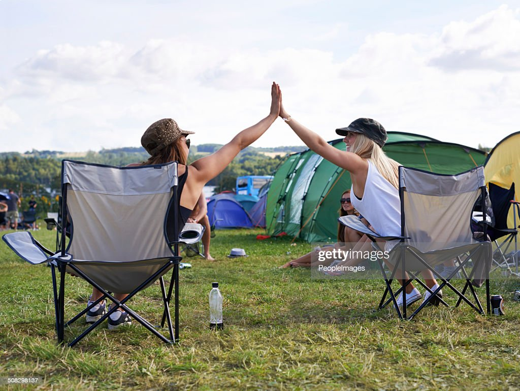 They're a couple of happy campers : Stock Photo
