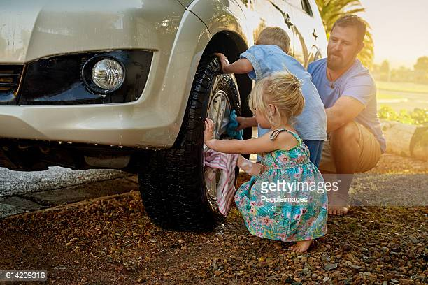 They're always eager to help Dad wash the car