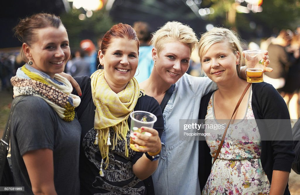 They're loving the festival vibe : Stock Photo