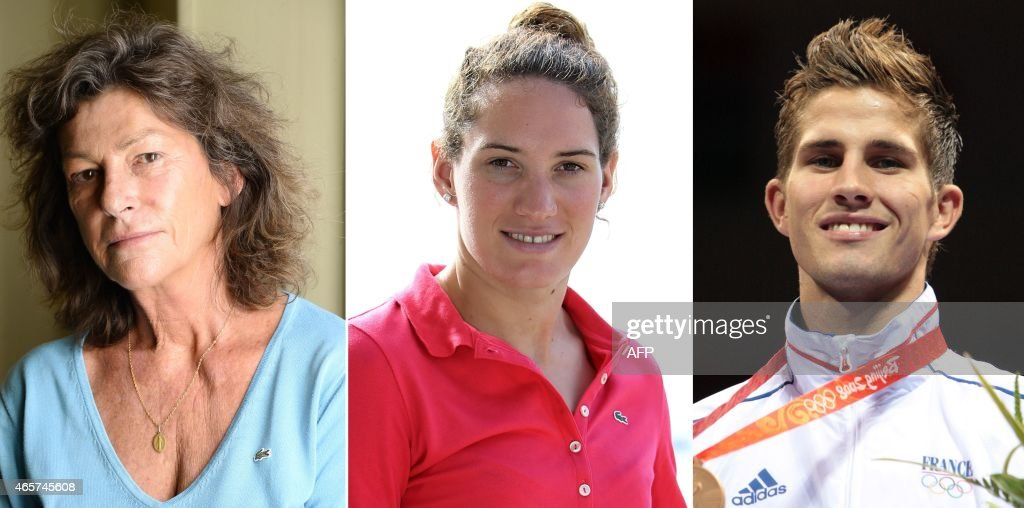 Thi combimation of three pictures made on March 10, 2015 in Paris shows (from L) French Champion sailor <a gi-track='captionPersonalityLinkClicked' href=/galleries/search?phrase=Florence+Arthaud&family=editorial&specificpeople=2593565 ng-click='$event.stopPropagation()'>Florence Arthaud</a> in Paris on October 27, 2014, French Olympic gold medallist swimmer <a gi-track='captionPersonalityLinkClicked' href=/galleries/search?phrase=Camille+Muffat&family=editorial&specificpeople=596271 ng-click='$event.stopPropagation()'>Camille Muffat</a> in Monaco on October 27, 2013, and French Olympic boxer <a gi-track='captionPersonalityLinkClicked' href=/galleries/search?phrase=Alexis+Vastine&family=editorial&specificpeople=5482032 ng-click='$event.stopPropagation()'>Alexis Vastine</a> in Beijing on August 23, 2008, who are among 10 killed in a helicopter crash while filming a reality TV show in Argentina on March 9, 2015. Arthaud, Muffat, Vastine and seven others died when two helicopters filming the survival series 'Dropped' smashed into each other in the rugged mountains of La Rioja province, local officials said. AFP PHOTO / JACQUES DEMARTHON / JEAN-CHRISTOPHE MAGNENET / BERTRAND GUAY