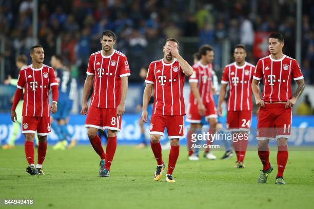 Thiago Alcantara Javi Martinez Franck Ribery and James Rodriguez of Bayern Muenchen dejected after the Bundesliga match between TSG 1899 Hoffenheim...