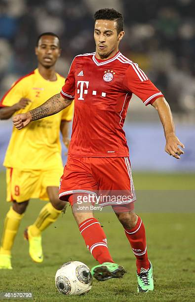 Thiago Alcantara of Bayern in action during the friendly match between Bayern Muenchen and Al Merrikh SC at the Al Sadd Stadium on January 9 2014 in...