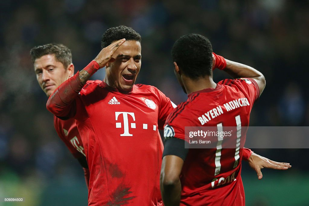 Thiago Alcantara of Bayern Muenchen celebrates scoring his side's second goal during the DFB Cup quarter final match between VfL Bochum and Bayern...