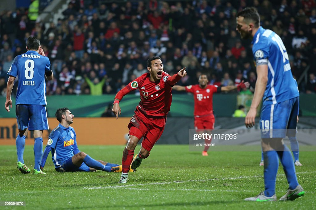Thiago Alcantara of Bayern Muenchen (c) celebrates scoring his side's second goal during the DFB Cup quarter final match between VfL Bochum and Bayern Muenchen at Rewirpower Stadium on February 10, 2016 in Bochum, Germany.
