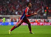 Thiago Alcantara of Bayern Muenchen celebrates scoring their first goal during the UEFA Champions League Quarter Final Second Leg match between FC...