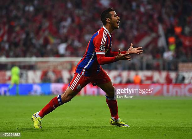 Thiago Alcantara of Bayern Muenchen celebrates scoring their first goal during the UEFA Champions League Quarter Final Second Leg match between FC...