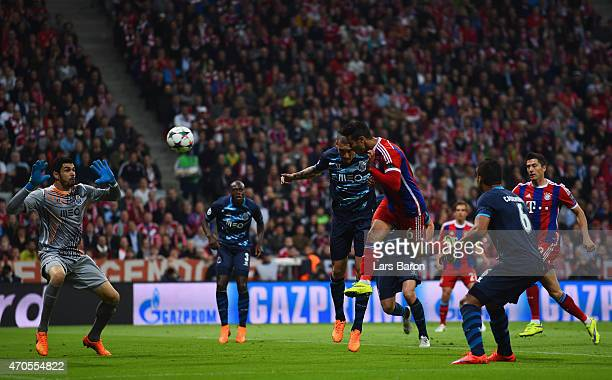 Thiago Alcantara of Bayern Muenchen heads in the their first goal during the UEFA Champions League Quarter Final Second Leg match between FC Bayern...