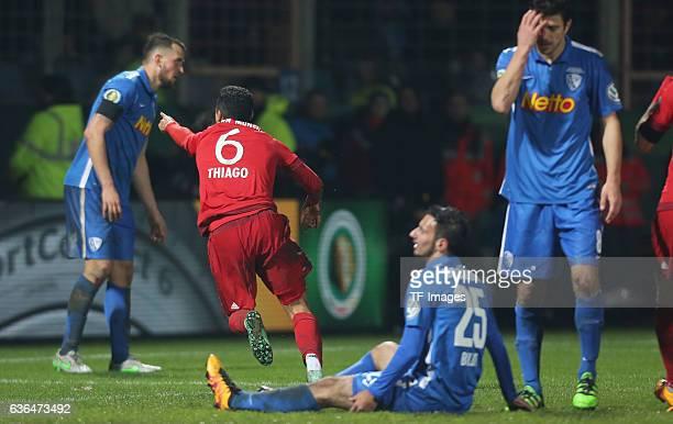 Thiago Alcantara of Bayern Muenchen Janik Haberer of Bochum Onur Bulut of Bochum and Anthony Losilla of Bochum celebrates after scoring during the...
