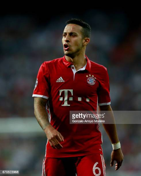 Thiago Alcantara of Bayern Muenchen protests during the UEFA Champions League Quarter Final second leg match between Real Madrid CF and FC Bayern...