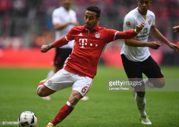Thiago Alcantara of Bayern Muenchen scores his side's second goal during the Bundesliga match between Bayern Muenchen and 1 FSV Mainz 05 at Allianz...