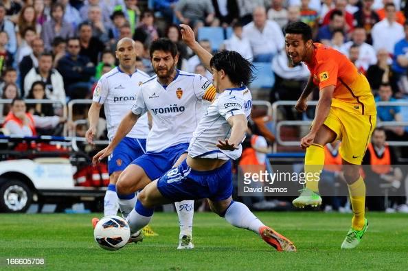 Thiago Alcantara of FC Barcelona scores the opening goal during the la Liga match between FC Barcelona and Real Zaragoza at La Romareda on April 14...