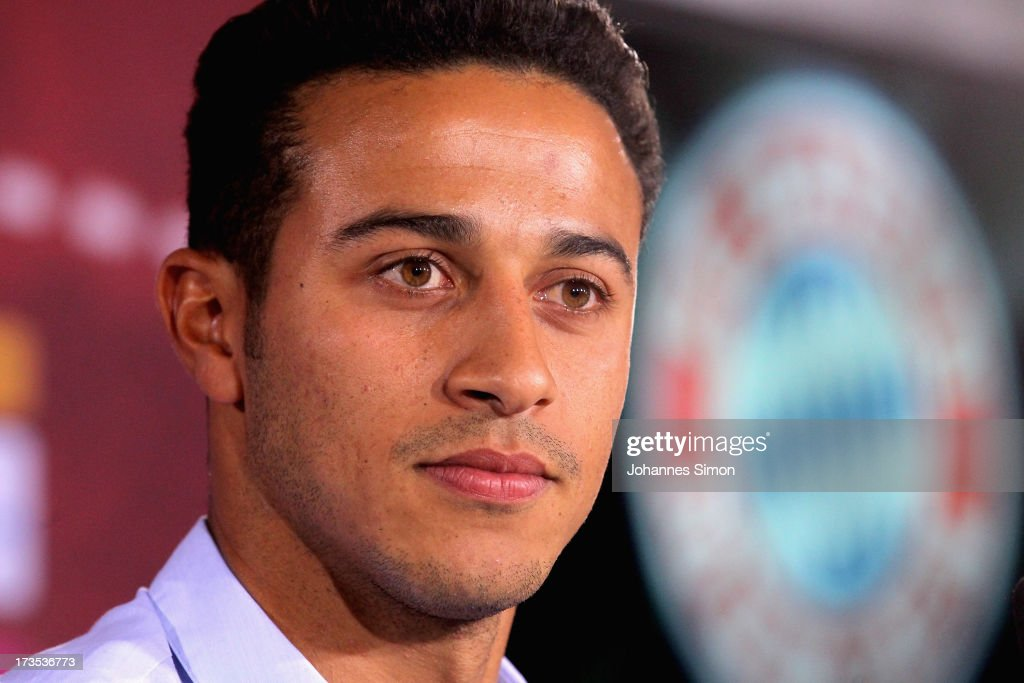 Thiago Alcantara of FC Bayern Muenchen looks on during a press conference at Bayern Muenchens headquarter Saebener Strasse on July 16, 2013 in Munich, Germany.