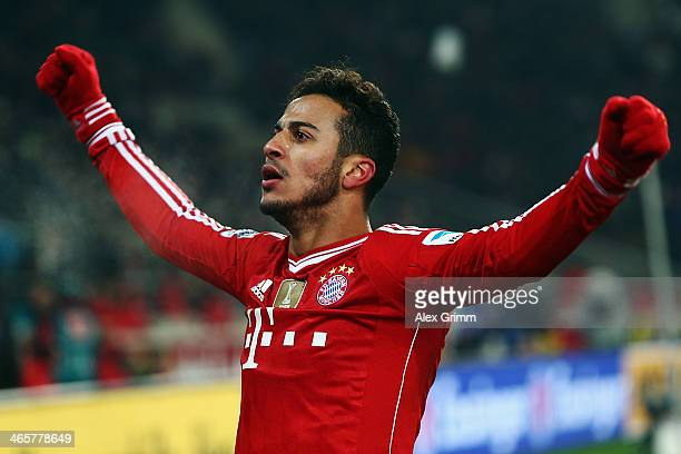 Thiago Alcantara of Muenchen celebrates his team's second goal during the Bundesliga match between VfB Stuttgart and FC Bayern Muenchen at...
