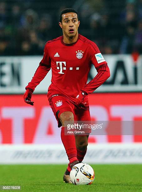 Thiago Alcantara of Muenchen controles the ball during a friendly match between Karlsruher SC and FC Bayern Muenchen at Wildpark Stadium on January...