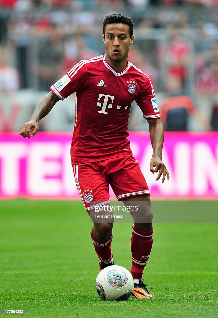 Thiago Alcantara of Muenchen in action during the Bundesliga match between FC Bayern Muenchen and 1. FC Nuernberg at Allianz Arena on August 24, 2013 in Munich, Germany.