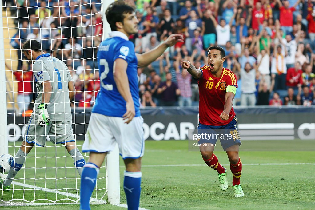 Thiago Alcantara of Spain celebrates his team's first goal during the UEFA European U21 Championship final match between Italy and Spain at Teddy Stadium on June 18, 2013 in Jerusalem, Israel.