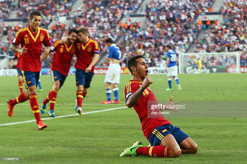 Thiago Alcantara of Spain celebrates his team's second goal during the UEFA European U21 Championship final match between Italy and Spain at Teddy Stadium on June 18, 2013 in Jerusalem, Israel.
