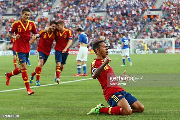 Thiago Alcantara of Spain celebrates his team's second goal during the UEFA European U21 Championship final match between Italy and Spain at Teddy...