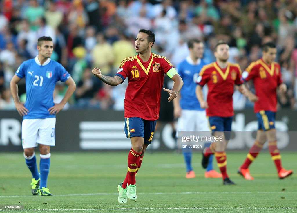 Thiago Alcantara of Spain celebrates scoring the first goal during the UEFA European U21 Championships Final match between Spain and Italy at Teddy Stadium on June 18, 2013 in Jerusalem, Israel.