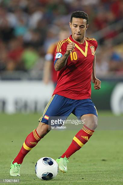 Thiago Alcantara of Spain during the UEFA European U21 Championships Final match between Spain and Italy at Teddy Stadium on June 18 2013 in...
