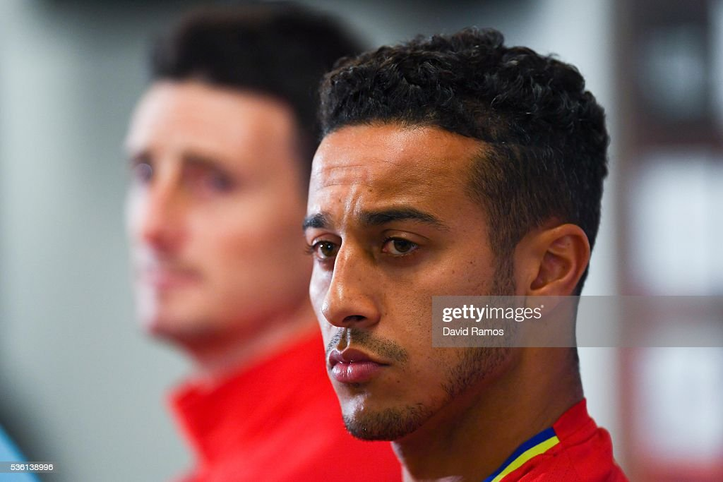 Thiago Alcantara of Spain faces the media during a press conference before a training session at the Red Bull Arena stadium on May 31, 2016 in Salzburg, Austria.