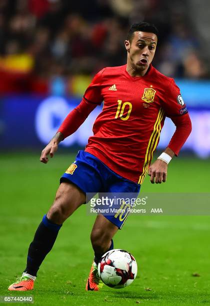 Thiago Alcantara of Spain in action during the FIFA 2018 World Cup Qualifier between Spain and Israel at Estadio El Molinon on March 24 2017 in Gijon...