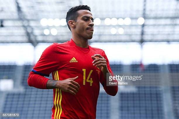 Thiago Alcantara of Spain looks on during an international friendly match between Spain and Korea at the Red Bull Arena stadium on June 1 2016 in...