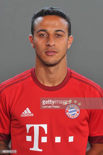 Thiago Alcantara poses during the team presentation of FC Bayern Muenchen at Bayern's training ground Saebener Strasse on July 16 2015 in Munich...