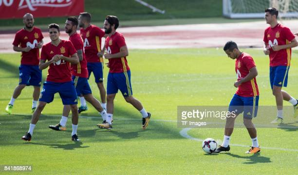 Thiago Alcántara of Spain Marc Bartra of Spain Isco Alarcón of Spain Álvaro Morata of Spain Suso of Spain looks on during a training session on...