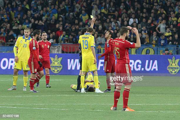 Thiago Alc��ntara reacts as referee shows him a yellow card during the European Qualifiers 2016 match between Ukraine and Spain national teams at NSK...