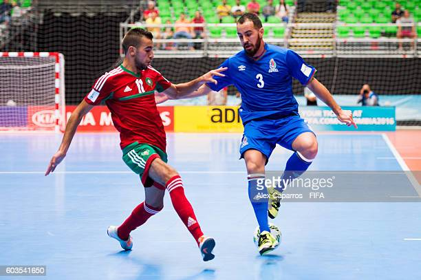 Thiago Bolinha of Azerbaijan controls the ball next to Bilal Bakkali of Morocco during the FIFA Futsal World Cup Group F match between Morocco and...